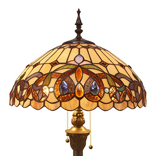 Stained Glass Shade - Tiffany Style Floor Standing Lamp 64 Inch Tall Stained Glass Serenity Victorian Shade 2 Light Antique Base for Bedroom Living Room Reading Lighting Table Set S021 WERFACTORY