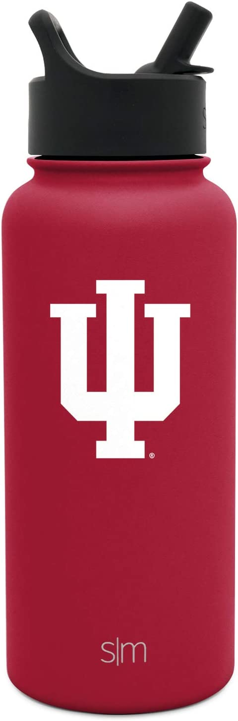 Simple Modern Indiana Hoosiers 32oz Summit Water Bottle with Straw Lid - Mens Womens Gift University NCAA College Vacuum Insulated Stainless Steel Travel Flask