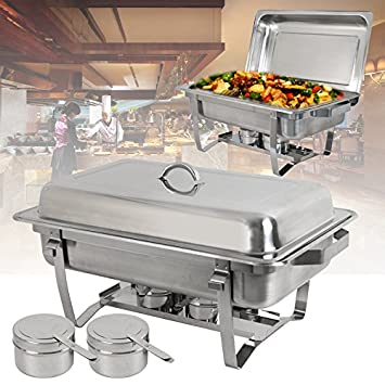 SUPER DEAL 8 Qt Stainless Steel 8 Pack Full Size Chafer Dish w Water Pan, Food Pan, Fuel Holder and Lid For Buffet Weddings Parties Banquets Catering Events 8