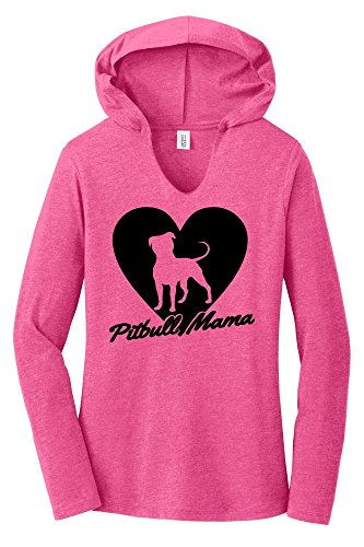 Comical Shirt Ladies Hoodie Shirt Pitbull Mama Tee Pitt Bully Dog Lover Gift Tee Fuchsia Frost S ()