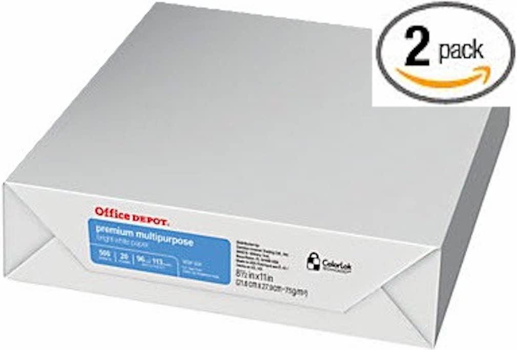Office Depot Premium Multipurpose White Office Paper, Copy Laser Inkjet, 8 1/2 x 11 inch Letter Size, 20 lb Density, 96 Bright, ColorLok, 2 Ream Pack, 1000 Total Sheets (940593-2 Ream Multipack)