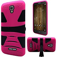 HR Wireless Hybrid U Kickstand Case for Alcatel Fierce 4 Allura - Black(PC)/Hot Pink(Silicone)
