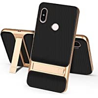 Ntron Dual Hybrid Shock Proof Kick Stand Back Cover Case for Xiaomi Redmi Note 5 Pro (Gold)