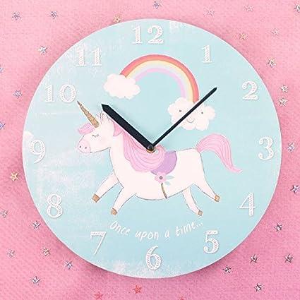 Reloj De Pared Infantil Redondo Unicornio Reloj De Pilas Reloj De Pared
