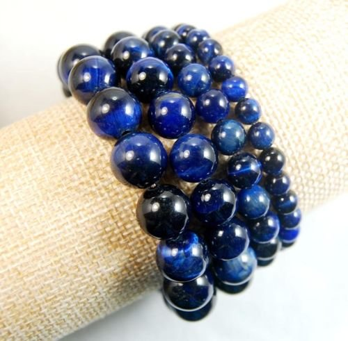 Tiger's Eye Gemstone Round Beads Stretchy Bracelet 6mm 8mm 10mm 12mm (6mm, Blue)