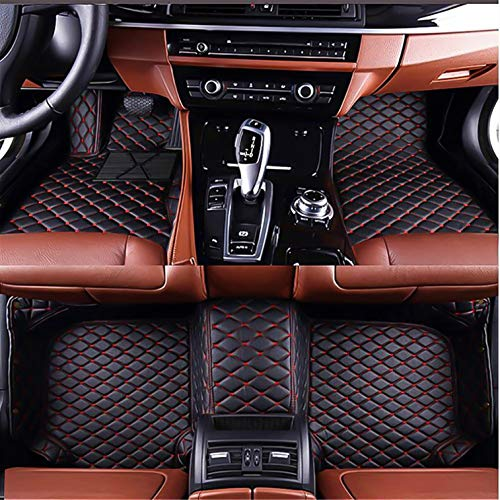 Custom Made Car Floor Mats Fit for BMW 5 Series E60 Saloon 2003-2010 All  Weather Car Floor Liner Artificial Leather 3D Mats Carpets Black with red