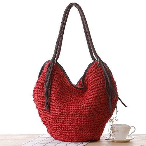 Bag Top Bag Tote Tassels Bag Shopper Handbag Women Beach Lining Handle Red Summer Bucket Bag Cotton Hobo Shoulder Straw 8EwC4