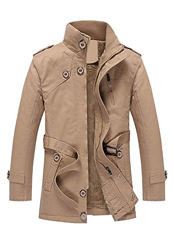(DOOXIUNDI Men's Thick Windbreaker Outwear Coat (2XL, Khaki))