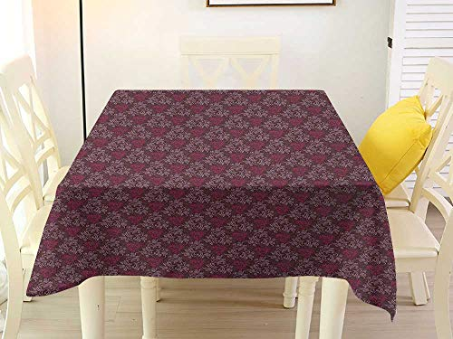 Square Tablecloth with Elastic Floral Ornamental Royal Victorian Garden Leaves with Little Blossoms Dark Brown Magenta and Mauve Farmhouse 70 x 70 Inch