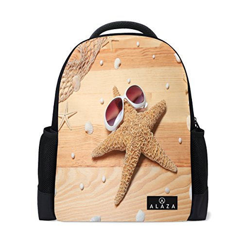Price comparison product image ALAZA Sunglasses Starfish on Wooden Polyester Backpack School Bag for Teen Boy Girl
