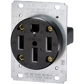 3-Pole Flush Mount Industrial Grade Range Receptacle, Straight Blade, Black, Nema 14-50R, 125/250 Volts, 50 Amps