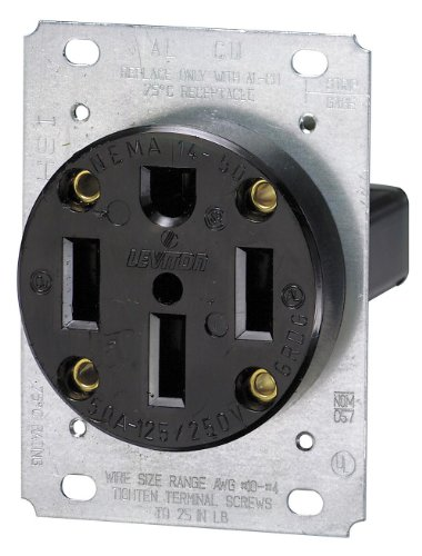 3-Pole Flush Mount Industrial Grade Range Receptacle, Straight Blade, Black, Nema 14-50R, 125/250 Volts, 50 Amps (Range Flush Receptacle)
