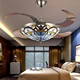 Cheap Huston Fan 42 inch Ceiling Fan with Light Mediterranean Style Stealth Fan Lights with Remote Control for Indoor Living Bedroom-Brozen