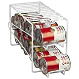 Home Basics Soda Can Beverage Dispenser Rack for Cabinet, Pantry, or Refrigerator - Dispenses 12 Standard Size 12 oz Soda Cans and 12 oz Canned Foods, White Finish