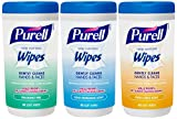 Purell 9121-03-EC Hand Sanitizing Wipes, Variety Scent, 40 Count Canister (Pack of 3)