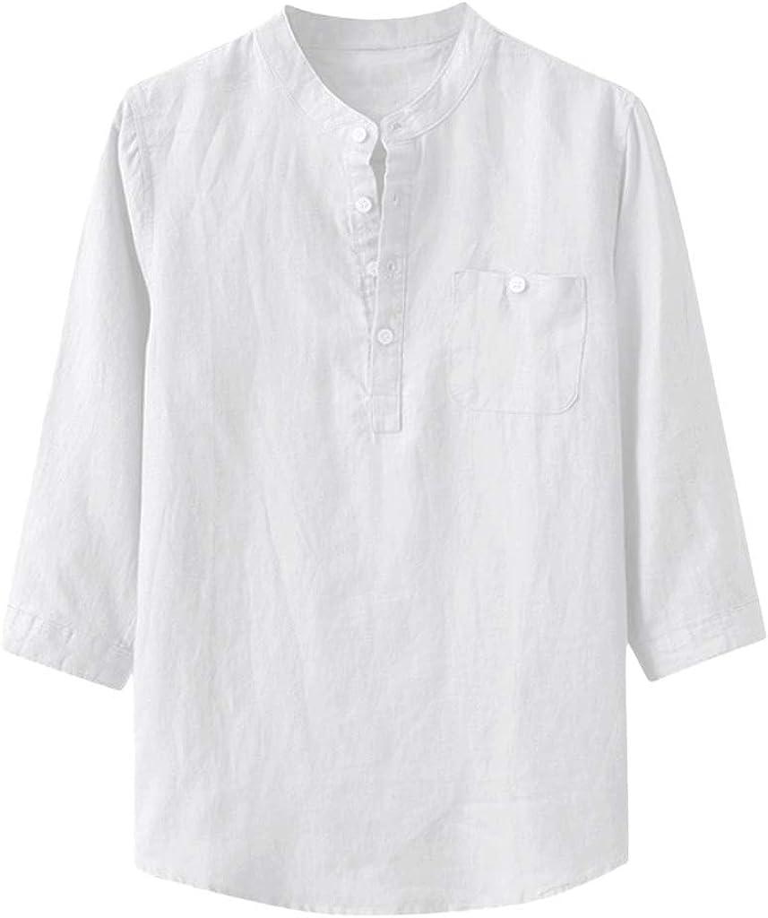 TUDUZ Camisetas Hombre Manga Larga 3/4 Color Sólido Camisas Algodon Y Lino Tops Botón Ropa De Cuello Alto
