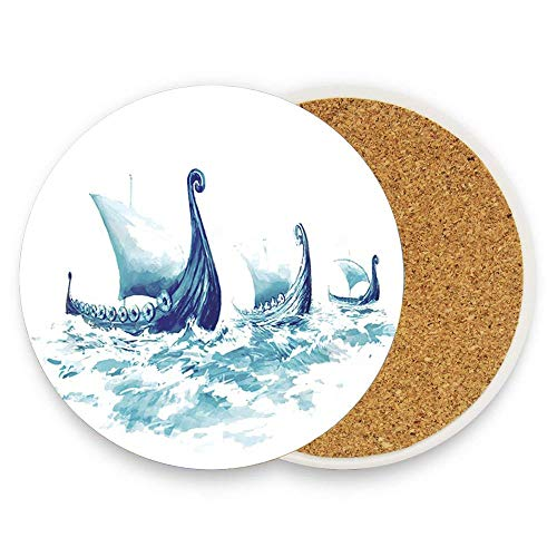 Vikings Ships Drakkars in Nordic Sea Absorbent Coaster For Drinks Ceramic Thirsty Stone With Cork Back Fit Big Cup, No Holder Parck 1