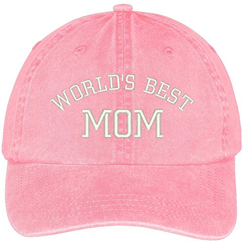 World's Best Mom Embroidered Pigment Dyed Low Profile Cotton Cap - Pink