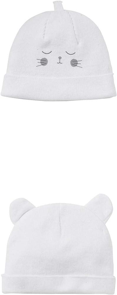 VERTBAUDET Lote de 2 gorros de bebé especial maternidad de algodón orgánico Blanco Claro Bicolor/Multicolor 3/6M - 60/67CM: Amazon.es: Ropa y accesorios