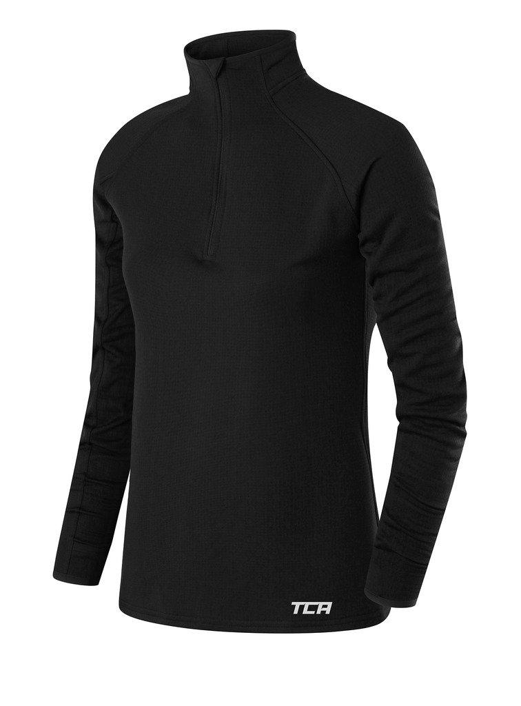 TCA Women's Cloud Fleece ¼ Zip Thermal Running Top with Zip Pocket - Black, X Small