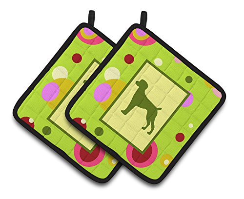 (Caroline's Treasures CK1035PTHD Lime Green Dots German Shorthaired Pointer Pair of Pot Holders, 7.5HX7.5W, Multicolor)