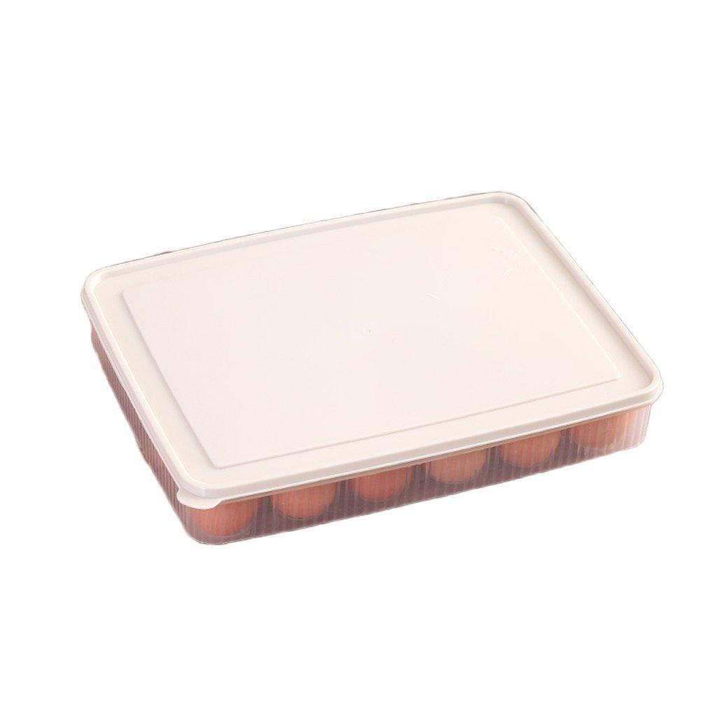 冷蔵庫24卵ストレージボックスホルダーコンテナプラスチックオーガナイザー ベージュ 11E3939Z134  ベージュ B07B47XQCV