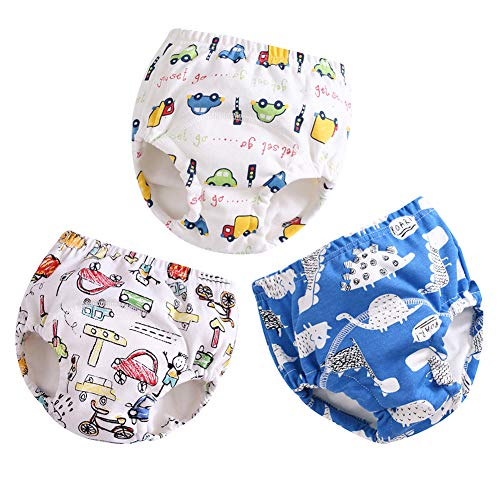 (Goodkids Infant Baby Girls Boys' Reusable 3 Pack Toilet Training Pants Waterproof Cartoon Nappy Underwear Cloth Diaper (A)