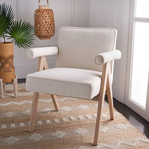 Safavieh Home Suri Mid-Century Modern Bone Linen and White Washed Arm Chair