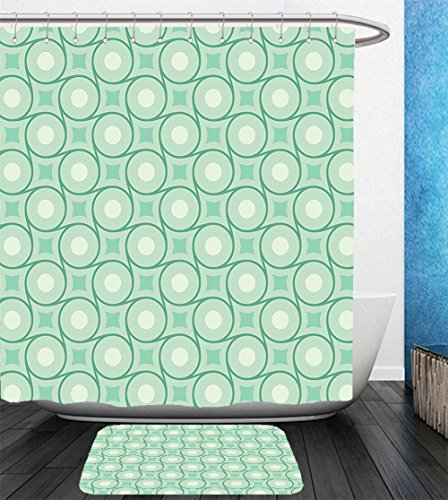 Beshowereb Bath Suit: Showercurtain Bathrug Bathtowel Handtowel Mint Circles and Dots Linked with Lines Wavy Squares Geometric Retro Style Mint Emerald Almond - Emerald Macy's Square