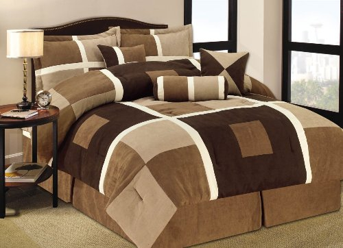 - Legacy Decor 7 Pieces Brown & Beige Geometric Pattern Suede Patchwork Comforter Bed-in-a-bag Set Washable Full Size