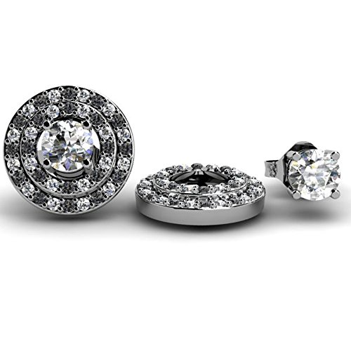 Dazzlingrock Collection 14K Round Double Row Removable Jackets for Stud Earrings, White Gold