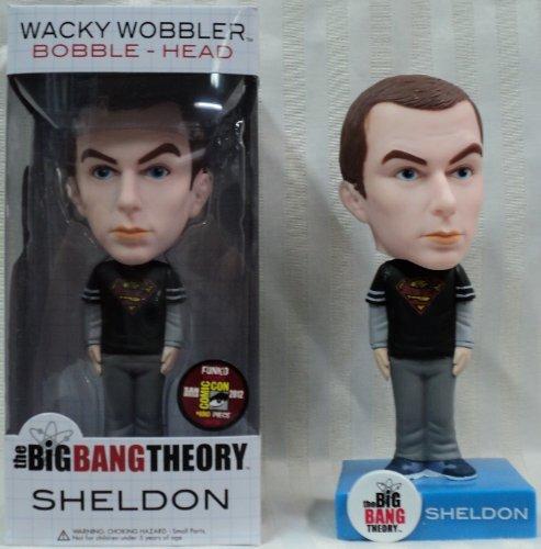 Exclusive Wacky Wobbler - Funko Big Bang Theory Sheldon Superman Shirt Wacky Wobbler 2012 Comic Con Exclusive