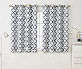 HLC.ME Lattice Print Decorative Blackout Thermal Insulated Privacy Room Darkening Grommet Window Drapes Curtain Panels for Bedroom - Platinum White & Navy Blue - 52