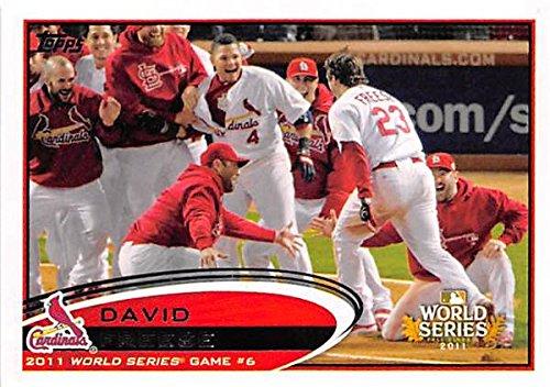 David Freese baseball card (St Louis Cardinals) 2012 Topps #291 World Series Home Run - David Autographed Baseball