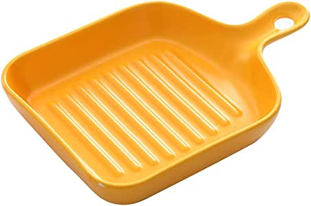 BESTOMZ Square Cast Iron Grill Pan Non Stick Griddle Pan with Short Handle (Yellow)