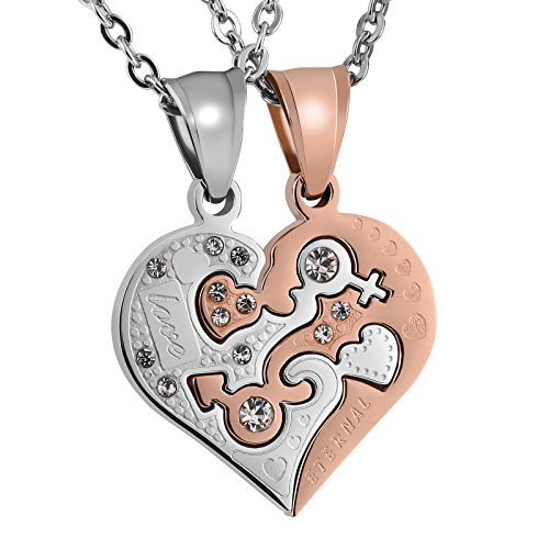 Aeici Heart Neckalces for Couple Matching Pendant Stainless Steel Eternal Love CZ Puzzle Necklace