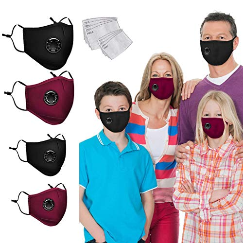 Fueyou 2+2 Kid Adult + 8 F_ilters Family Cloth Covering Face Bandana Mouth Scarf Reusable Insert Washable Adjustable