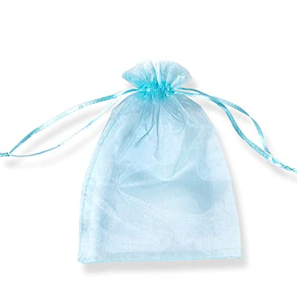 PLECUPE 100 Pcs Bolsa Organza Organza Bags, 25x35cm Transparente Organza Joya Bolsas Fiesta de Boda Bolsas de Regalo - Azul#3