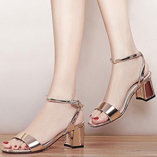 Or Pour Ouvert couleur Or Femmes Hauts Femme Uk6 5 Chaussures Taille Talon Mi Mot Confortable Boucle Eu39 Été Talons Bout Élégante Étudiant Sandales Cn40 8pxqwTPp