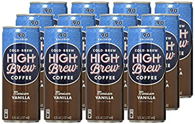 High Brew Cold Brew Coffee - Mexican Vanilla 8 Fl Oz (12 Count) Grab & Go Pre-Made Cold Brew Direct Trade Coffee Low-Acidity Caffeine Drink
