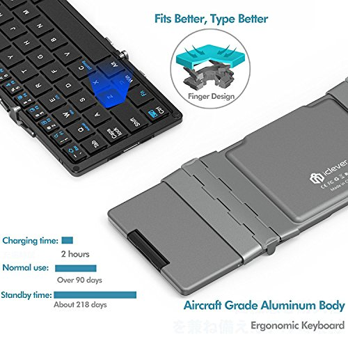 Bluetooth Keyboard, iClever Folding Keyboard with Sensitive Touch Pad (Sync Up to 3 Devices), Pocket-Sized Tri-folding Wireless Keyboard with Portable Carry Pouch for Smartphones, Tablets - Dark Gray by iClever (Image #2)