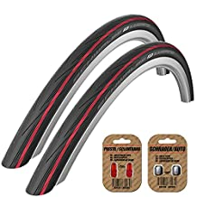 2 x Schwalbe Lugano Tires (A PAIR) 700 x 23 - RED STRIPE - FREE SHIPPING - FREE VALVE CAP UPGRADE WORTH $4.99!