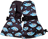 HIGHCAMP Stay On Mittens Waterproof Snow Ski Mitts for Baby/Toddler/Kid/Boy/Girl …