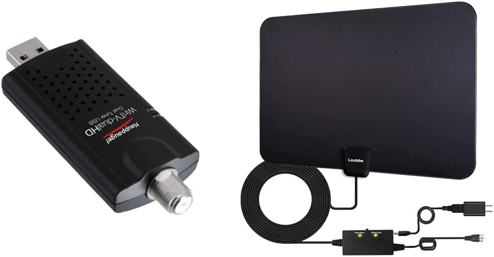 Hauppauge WinTV-DualHD Dual USB 2.0 HD TV Tuner,Black & Loutsbe Amplified Indoor HD Digital TV Antenna, Long 180 Miles Range,Digital Antenna Amplifier Signal Booster