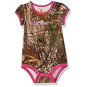 Carhartt Baby Girls' Short Sleeve Bodyshirt, Realtree Xtra Camo, 12 Months