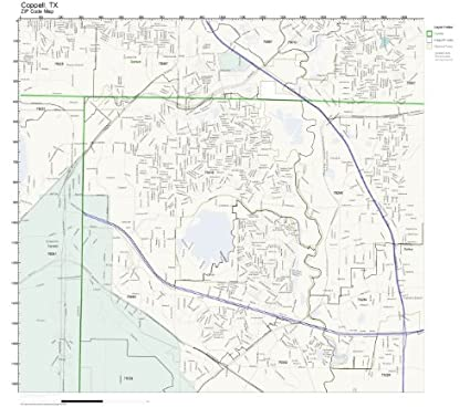 Amazon.com: ZIP Code Wall Map of Coppell, TX ZIP Code Map Laminated ...