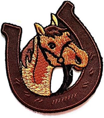 Studenti Tatuaggio Gilet Motociclista Maglietta Motociclista Toppa Ricamata a Forma di Testa di Cavallo con Ferro di Cavallo Giacca per Bambini da Cucire o Stirare