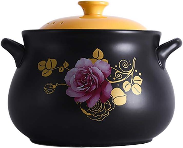 Deep Ceramic Casserole with Lid,Clay Pot Earthen Pot Cooker Cookware Stove Pot Soup Hot Pot Stockpot for Slow Cooking Black 3.7quart