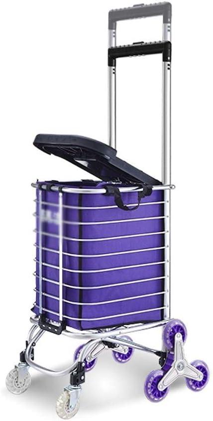 Escalera Que Sube Carro de la Compra del hogar Remolque Robusto de la Carretilla Carro portátil con el Marco Plegable de la aleación de Aluminio Carretilla Plegable (Color : Silver): Amazon.es: Hogar