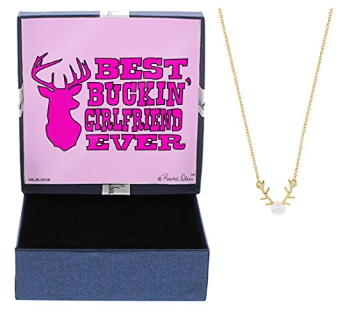 (Best Buckin' Girlfriend Ever Jewelry Gift Gold-Tone Deer Antler Necklace Simulated Pearl Necklace Country Gift Girlfriend)